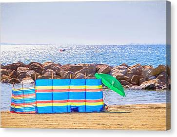 Windbreaker Canvas Print - At The Beach - Impressions by Susie Peek
