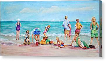 Canvas Print featuring the painting At The Beach by Patricia Piffath