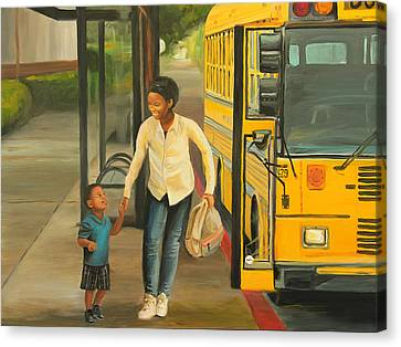 At The Bus Stop Canvas Print