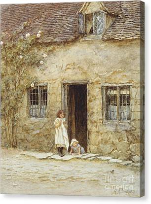 At The Cottage Door Canvas Print by Helen Allingham