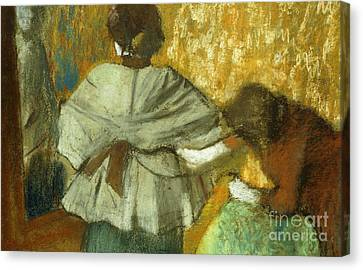 Dressing Room Canvas Print - At The Couturier, The Fitting by Edgar Degas