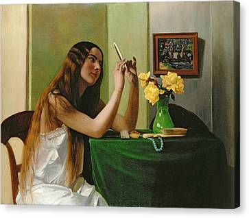 Long Bed Canvas Print - At The Dressing Table by Felix Edouard Vallotton