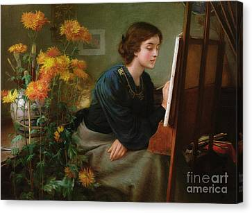 Artist At Easel Canvas Print - At The Easel  by James N Lee