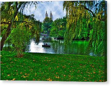 At The Lake In Central Park Canvas Print by Randy Aveille