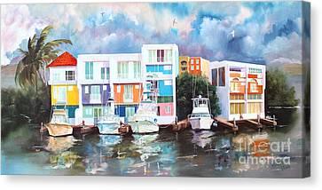 At The Marina Canvas Print by Myrna Barton