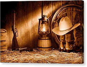 At The Old Ranch - Sepia Canvas Print by Olivier Le Queinec