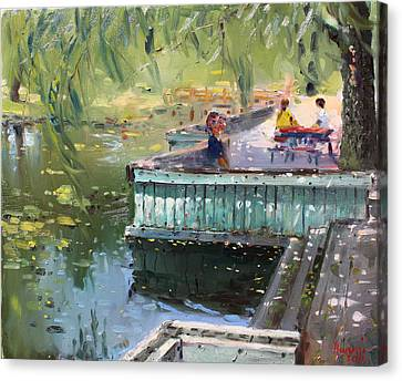 At The Park By The Water Canvas Print by Ylli Haruni