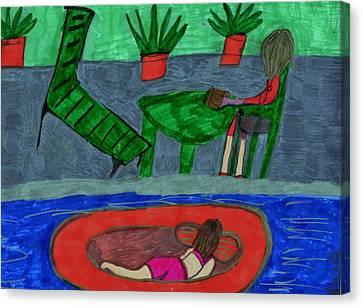 Floating Girl Canvas Print - At The Pool Side by Elinor Helen  Rakowski