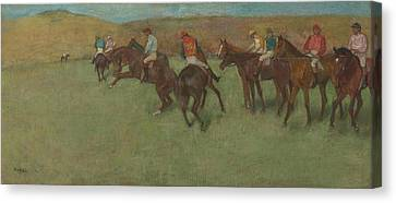 At The Races Before The Start 1875 - 1885 Canvas Print