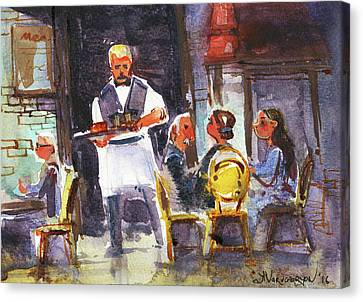 At The Restaurant  Canvas Print by Kristina Vardazaryan