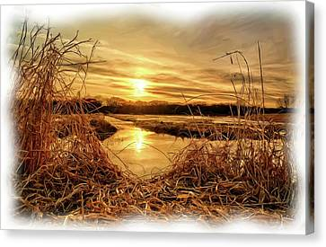 Hdr Landscape Canvas Print - At The Rivers Edge Painting by Bonfire Photography