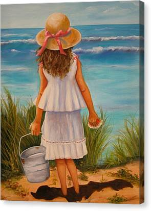 Canvas Print featuring the painting At The Seashore by Joni McPherson