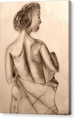 Canvas Print featuring the drawing At The Spa by Barbara Giordano