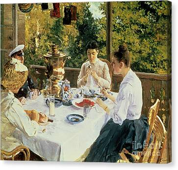 Table Canvas Print - At The Tea-table by Konstantin Alekseevich Korovin