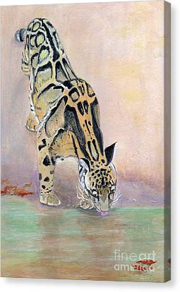 At The Waterhole - Painting Canvas Print by Veronica Rickard