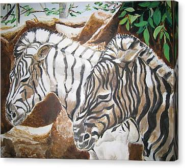 Canvas Print featuring the painting At The Zoo by Julie Todd-Cundiff