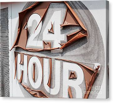 At Your Service 24 Hours - Old Sign Canvas Print by Jason Freedman