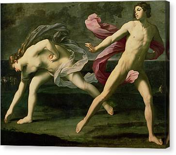 Atalanta And Hippomenes Canvas Print by Guido Reni
