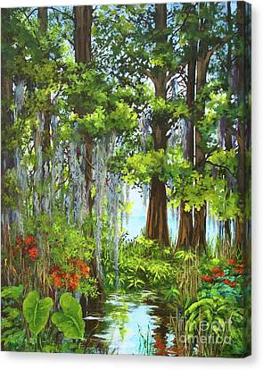 Canvas Print featuring the painting Atchafalaya Swamp by Dianne Parks