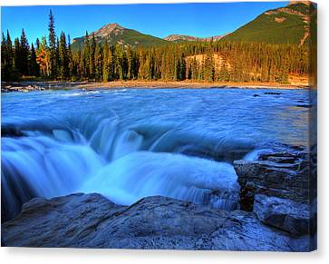 Athabasca Falls In Jasper National Park Canvas Print by Mark Duffy