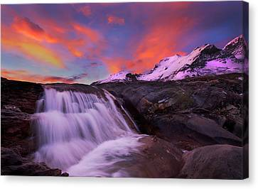 Canvas Print featuring the photograph Athabasca On Fire by Dan Jurak