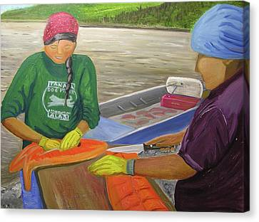 Athabaskan Women Cutting Salmon Canvas Print by Amy Reisland-Speer