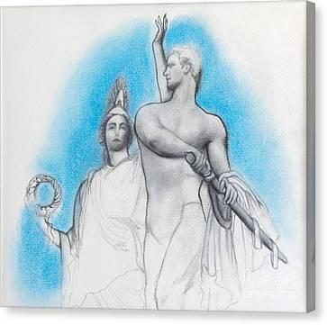 Athena Counseling Diomedes Canvas Print by Gabriela Junosova