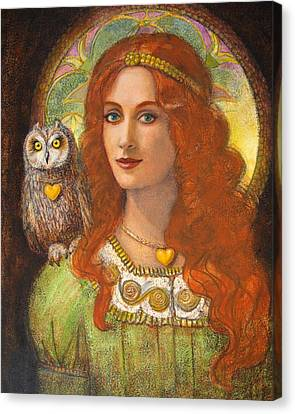 Athena And Her Owl- Wise Ones Canvas Print by Sue Halstenberg