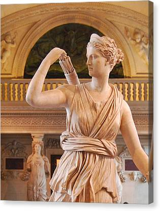 Canvas Print featuring the digital art Athena Statue by Nancy Bradley