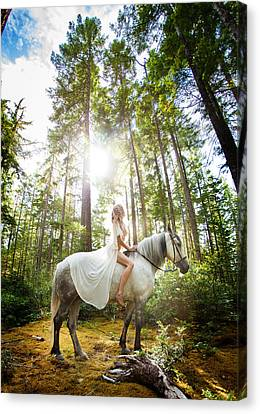 Canvas Print featuring the photograph Athena's Clearing by Dario Infini
