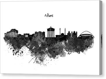 Athens Black And White Skyline Canvas Print by Marian Voicu