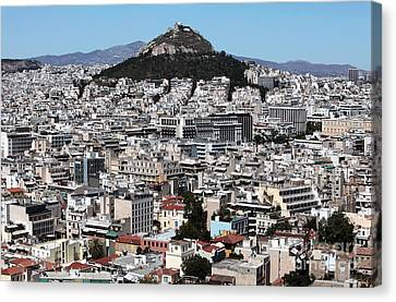 Athens City View Canvas Print by John Rizzuto