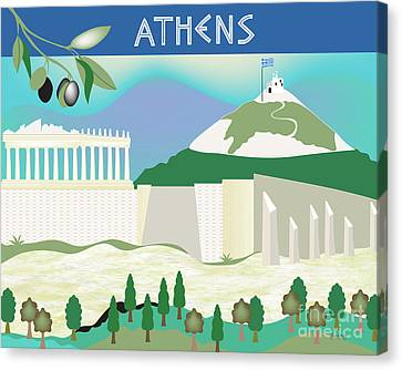 Athens Greece Horizontal Scene Canvas Print by Karen Young