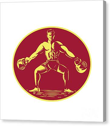 Athlete Lifting Kettlebell Oval Woodcut Canvas Print by Aloysius Patrimonio