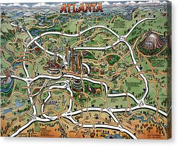 Atlanta Cartoon Map Canvas Print by Kevin Middleton