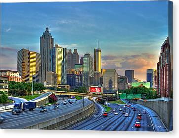 Canvas Print featuring the photograph Atlanta Coca-cola Sunset Reflections Art by Reid Callaway