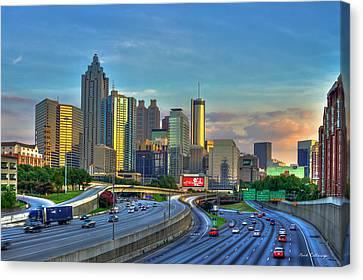Atlanta Coca-cola Sunset Reflections Art Canvas Print