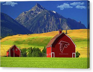 Canvas Print featuring the photograph Atlanta Falcons Barn by Movie Poster Prints
