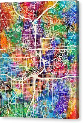 Atlanta Georgia City Map Canvas Print by Michael Tompsett