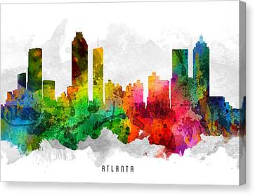 Atlanta Georgia Cityscape 12 Canvas Print by Aged Pixel