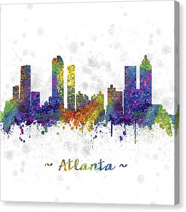 Atlanta Georgia Skyline Color 03sq Canvas Print by Aged Pixel
