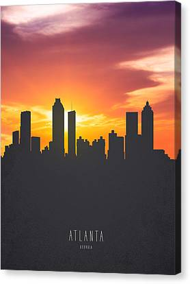 Atlanta Georgia Sunset Skyline 01 Canvas Print by Aged Pixel