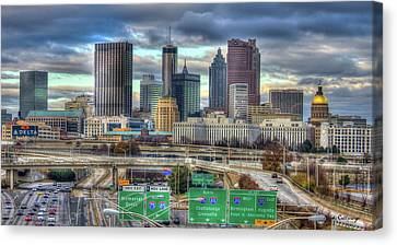 Canvas Print featuring the photograph Atlanta Moving On Skyline Cityscape Art by Reid Callaway