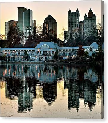 Atlanta Over Piedmont Park Canvas Print by Frozen in Time Fine Art Photography