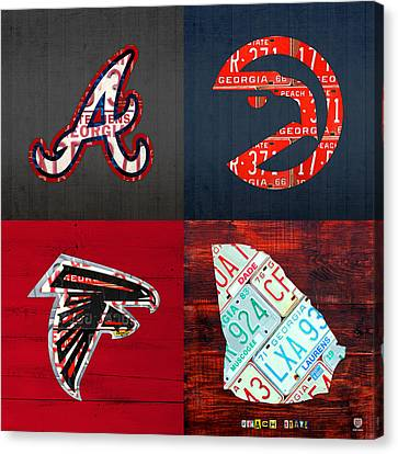 Atlanta Sports Fan Recycled Vintage Georgia License Plate Art Braves Hawks Falcons Plus State Map Canvas Print by Design Turnpike