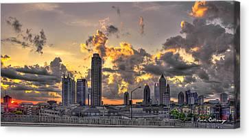 Atlanta Sunrise On Atlantic Station Commons And Midtown Atlanta Canvas Print by Reid Callaway