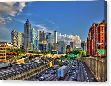 Canvas Print featuring the photograph Atlanta The Capital Of The South Cityscapes Sunset Reflections Art by Reid Callaway