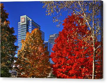 Atlantic Station Banking Fall Leaves Canvas Print