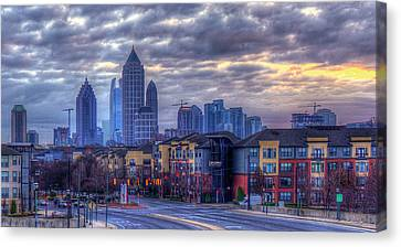Atlantic Station Cloudy Day Atlanta Midtown Cityscape Art Canvas Print