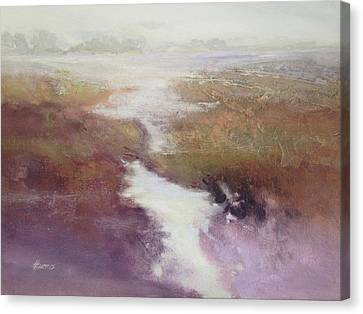 Canvas Print featuring the painting Atlanticsaltmarsh by Helen Harris